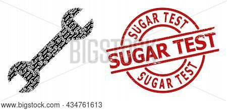 Red Round Stamp Seal Contains Sugar Test Caption Inside Circle. Vector Spanner Collage Is Formed Of
