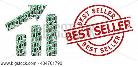 Red Round Stamp Seal Has Best Seller Text Inside Circle. Vector Up Trend Bar Chart Fractal Is Formed