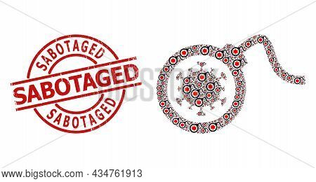 Red Round Stamp Seal Contains Sabotaged Tag Inside Circle. Vector Virus Bomb Fractal Is Made From Re