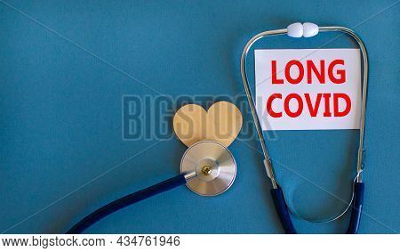 Covid-19 Pandemic Long Covid Symbol. White Card With Words Long Covid, Beautiful Blue Background, Wo