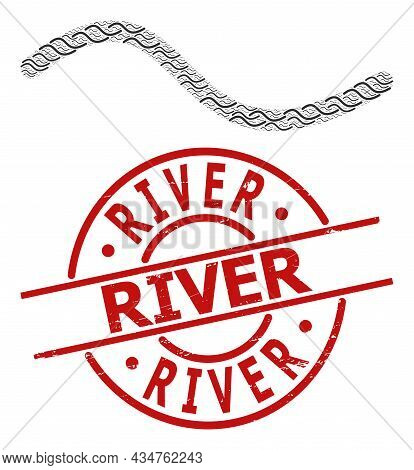 Red Round Stamp Seal Includes River Tag Inside Circle. Vector Wave Line Fractal Is Created From Scat