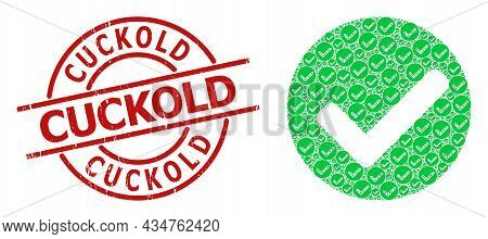 Red Round Badge Contains Cuckold Text Inside Circle. Vector Yes Mark Mosaic Is Composed From Scatter