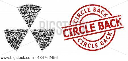 Red Round Badge Contains Circle Back Title Inside Round Lines. Vector Sphere Sectors Mosaic Is Done