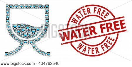 Red Round Stamp Contains Water Free Tag Inside Circle. Vector Water Tank Mosaic Is Composed Of Repea