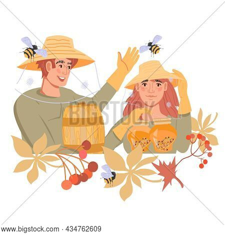 Emblem Or Banner Element For Beekeeping, Honey Proceeding And Apiary With Cartoon Beekeepers, Flat V