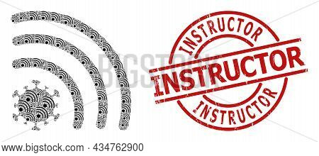 Red Round Stamp Contains Instructor Text Inside Circle. Vector Virus Wi-fi Signal Composition Is For