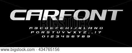 Car Font Alphabet Letters. Automotive Brand Logo Typography. Steel Metallic Typographic Design. Bold