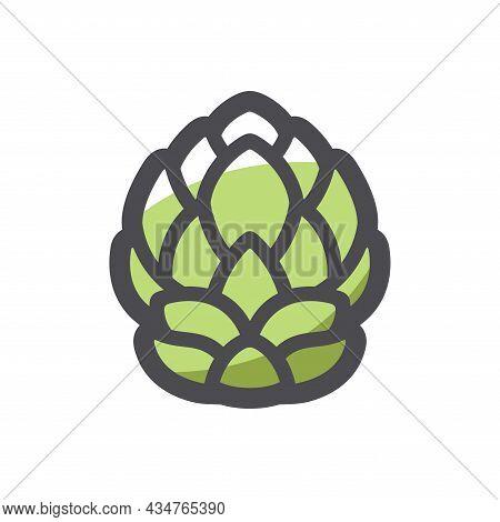 Hop Cone Plant Vector Icon Cartoon Illustration