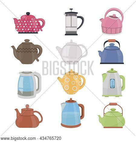 Kettle Cartoon Set Isolated . Vector Cartoon Set Icon Electric Teapot. Vector Illustration Of Kettle