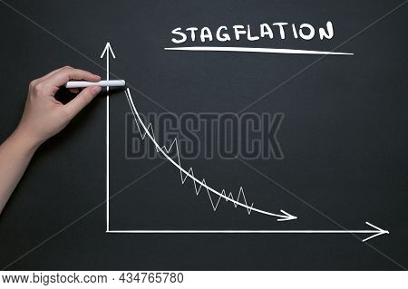 Stagflation Concept, Chalk Drawing Of A Downward Graph And The Word Stagflation, Stock Market Fall,