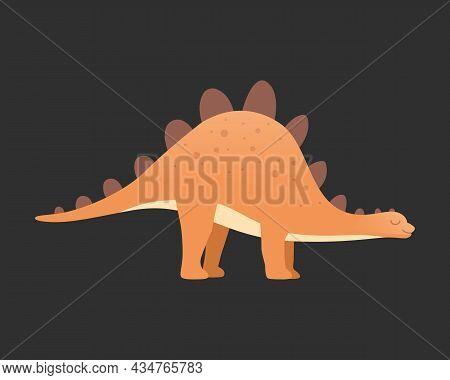 Dinosaur Vector Isolated On Dark. Dinosaurs Animal Predators And Herbivores. Dino Icon.