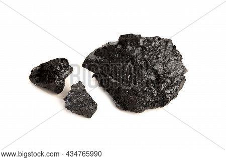 Bituminous Coal Isolated On White Background. Black Coal