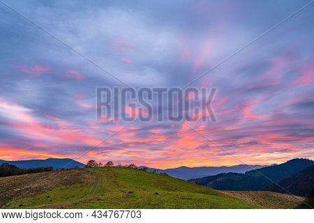 Beautiful Sky In The Fantastic Carpathian Mountains