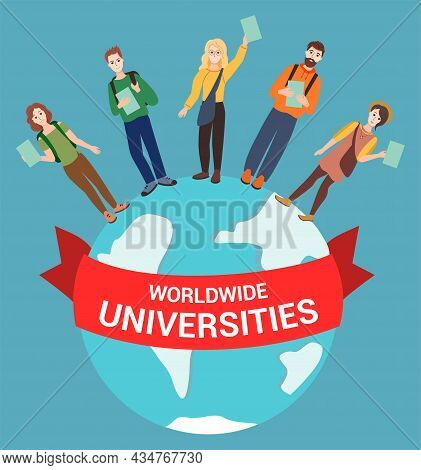 Happy Students From Different Countries Hold Diplomas, Stand On The Globe, The Inscription On The Re