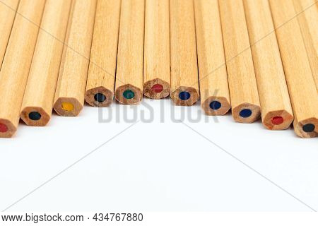 Many Different Colored Pencils.color Pencils In Arrange In Color Wheel Colors On White Background.co