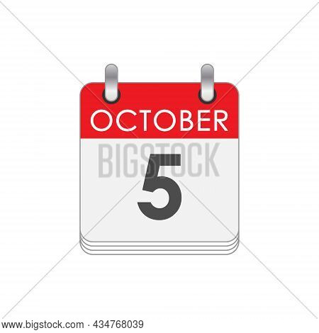 October 5. A Leaf Of The Flip Calendar With The Date Of October 5. Flat Style.