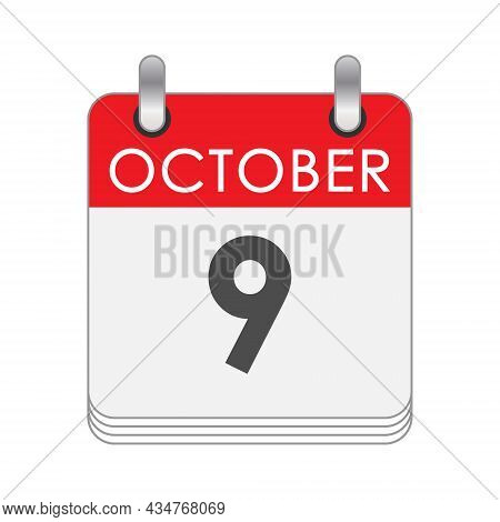 October 9. A Leaf Of The Flip Calendar With The Date Of October 9. Flat Style.