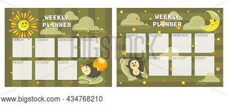 Sun, Young Month And Hedgehog. Childrens Organizer With Cute, Funny Characters For Weekly Planning.