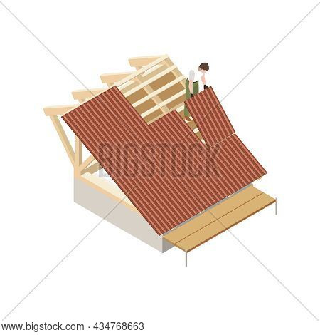 Roofer Isometric Icon With Man Installing Roofing Sheets Vector Illustration