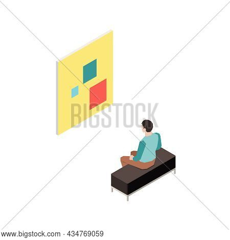 Isometric Modern Art Gallery Visitor Looking At Painting Isolated Vector Illustration