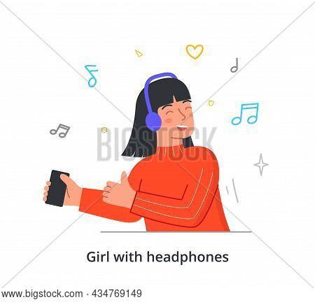 Beautiful Young Female Character Is Singing Along As Listening To Her Favoutite Song On White Backgr