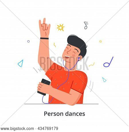 Young Man Is Dancing To His Favourite Music In Headphones On White Background. Concept Of People Dan