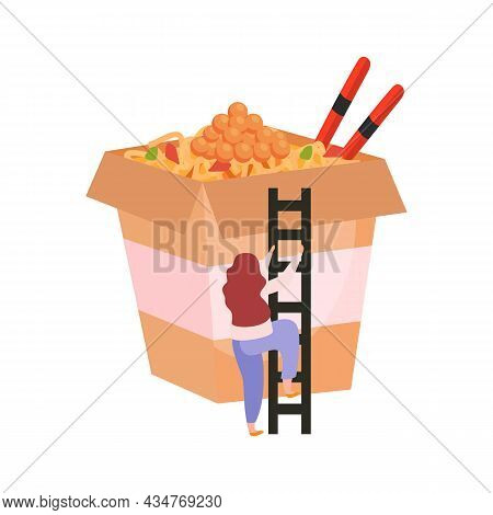Wok Flat Icon With Woman Climbing Up Ladder Into Cardboard Box With Noodles And Chopsticks Vector Il