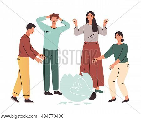Group Of Male And Female Characters Trying To Fix A Broken Lightbulbs Together On White Background.
