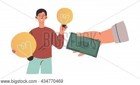 Smiling Male Characters Is Getting Money From Sellings Lightbulbs On White Background. Concept Of Cr