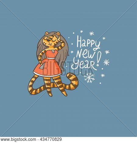 New Year Card With Tiger. Chinese Calendar Symbol. Vector Holiday Poster. Funny Animal.