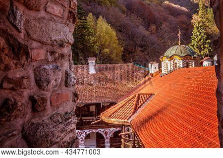 Bulgaria, Beautiful Church In Unesco World Heritage Site Famous Rila Monastery, Rilsky Monastery