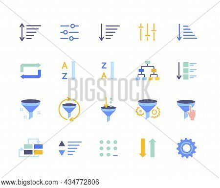 Set Of Cute Essential Colorful Sorting And Filtering Elements On White Background. Template Of Data