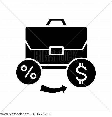 Investment Portfolio Glyph Icon. Personal Capital And Business Loan With Dollar Sign. Money Growth A
