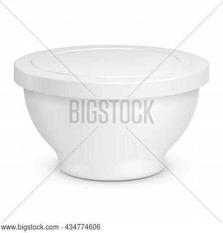 Mockup Food Plastic Tub Bucket Container For Dessert, Yogurt, Ice Cream, Sour Cream. Illustration Is