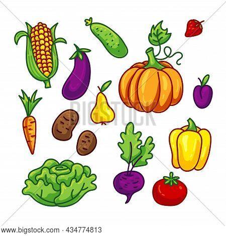 Cartoon Vegetable Set. Bundle - Cute Pumpkin, Corn, Cabbage Cucumber, Carrot, Tomato, Pepper, Strawb