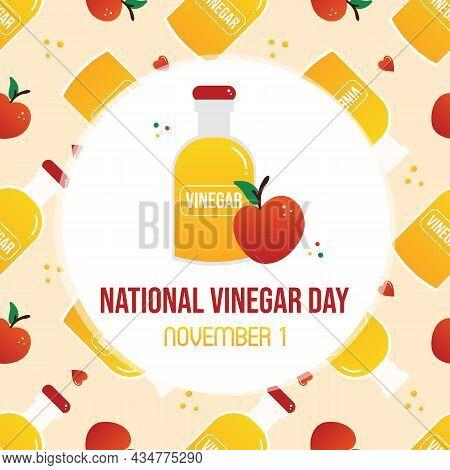 National Vinegar Day Greeting Card, Vector Illustration With Bottle Of Apple Cider Vinegar And Red J