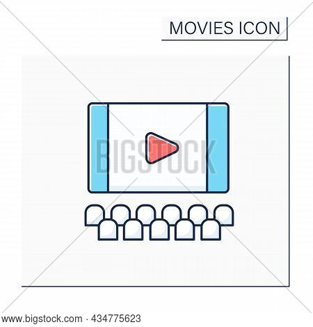 Screen Color Icon. Flat Surface In Cinema On Which Pictures Or Movies Are Shown. Ready To Show Premi