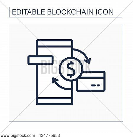 Transaction Line Icon. Cryptocurrency Exchange And Transfer. Virtual Wallet, Banking. Digital Money,