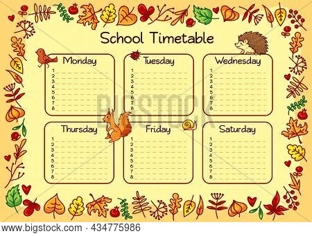 Autumn School Timetable For Kids. Cute Weekly Planner, Organizer And School Schedule Vector Template