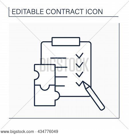 Conditions Line Icon. Act Or Event That Affects Party Contractual Duty. Parties Obligations. Checkli