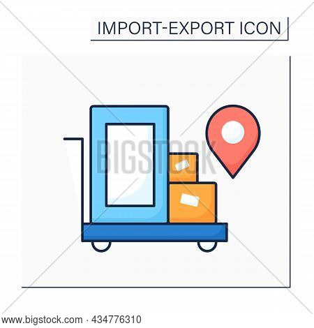 Cargo Color Icon. Goods Carried By Ship. Boxes With Goods Which Are Delivered To Locations. Import A