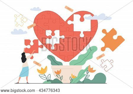 Heart Healing Therapy After Emotional And Painful Marriage Divorce As Missing Jigsaw Puzzle Pieces.