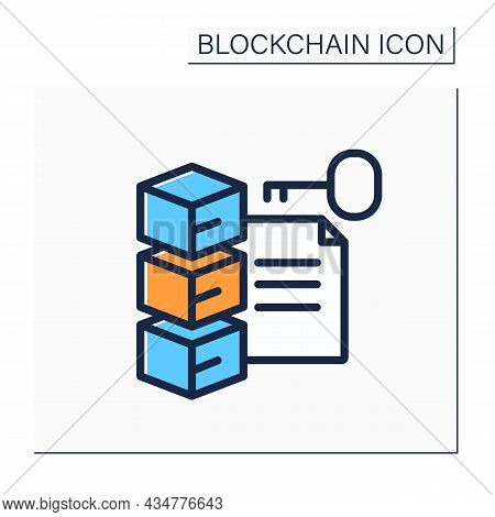 File Storage Color Icon. Transaction History, Cryptocurrency Data And Document Commit. Digital Money
