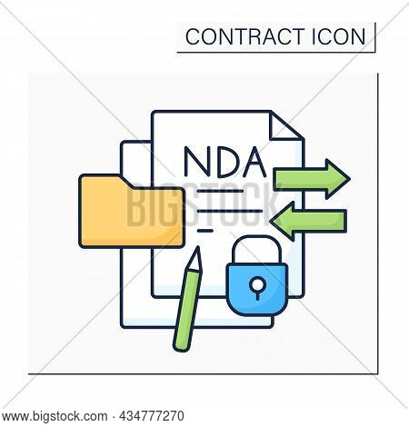 Confidentiality Agreement Color Icon. Legal Agreement Binds One Or More Parties To Non-disclosure Of