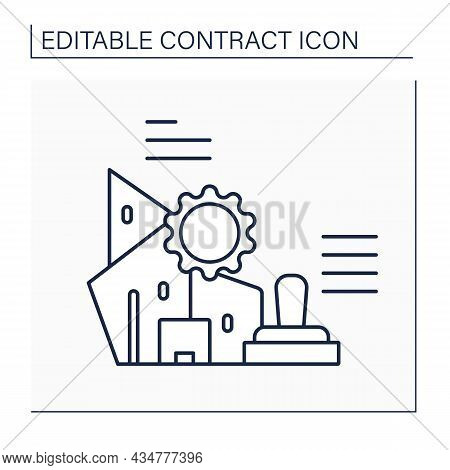 Company Seal Line Icon. Corporate Or Common Seal. Official Signet Used By The Company. Law Jurisdict
