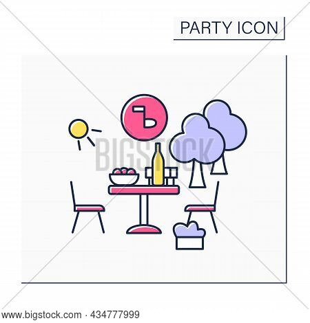Garden Party Color Icon. Special Private Party During Afternoon. Outdoor Celebration In Garden Or Ya