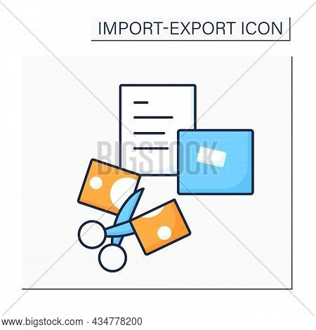 Declare Color Icon. Customs Declaration. Goods Detailed List. Import And Export Concept. Isolated Ve
