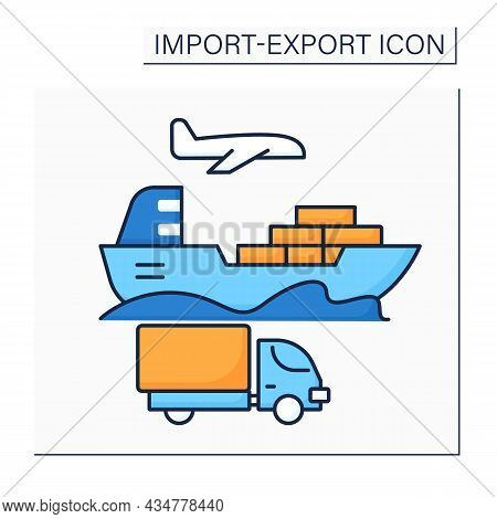 Ship Color Icon. Vessel Of Considerable Size For Deep-water Navigation. Import And Export Concept. I