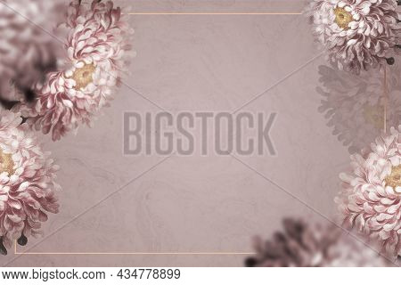 Gold frame with aster border on brown background