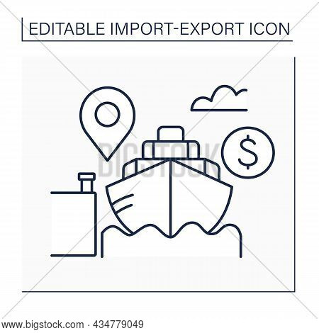 Cost And Freight Line Icon.shipping Contract. Goods Cost And Freight, But Not Insurance. Delivery To